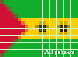 Схема фенечки прямым плетением Сан-Томе и Принсипи