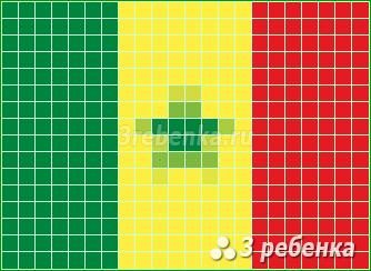 Схема фенечки прямым плетением Сенегал