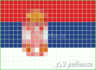 Схема фенечки прямым плетением Сербия