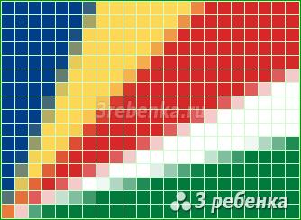 Схема фенечки прямым плетением Сейшелы