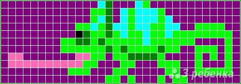 Схема фенечки прямым плетением 15054