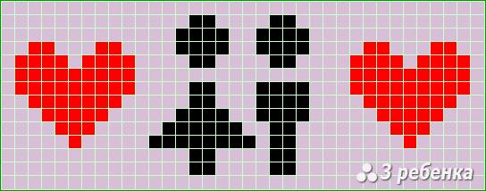Схема фенечки прямым плетением 17071
