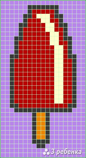 Схема фенечки прямым плетением 17185
