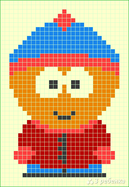 Схема фенечки прямым плетением 15044