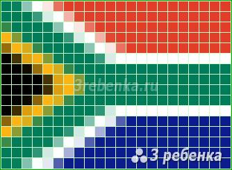 Схема фенечки прямым плетением Южная Африка