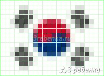 Схема фенечки прямым плетением Республика Корея