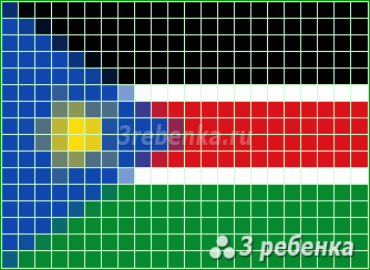 Схема фенечки прямым плетением Южный Судан