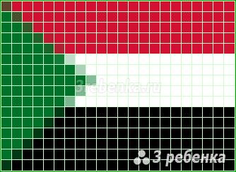Схема фенечки прямым плетением Судан