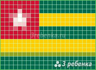Схема фенечки прямым плетением Того