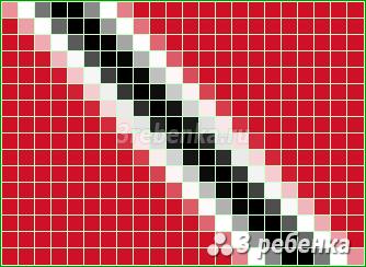 Схема фенечки прямым плетением Тринидад и Тобаго
