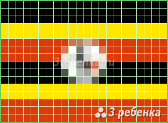 Схема фенечки прямым плетением Уганда