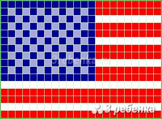 Схема фенечки прямым плетением Соединенные Штаты