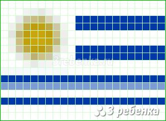 Схема фенечки прямым плетением Уругвай