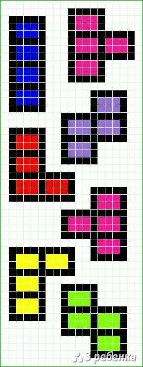 Схема фенечки прямым плетением 18336