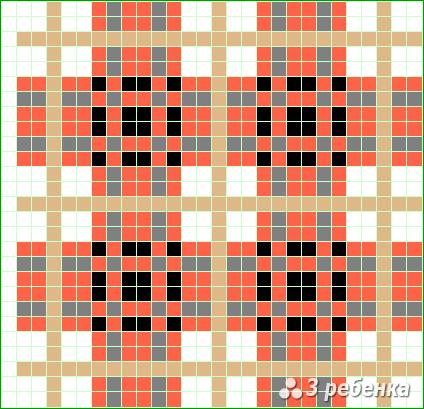 Схема фенечки прямым плетением 20029