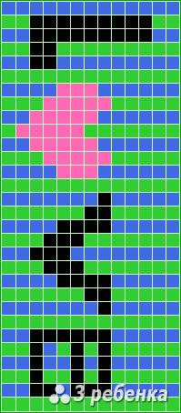 Схема фенечки прямым плетением 20298