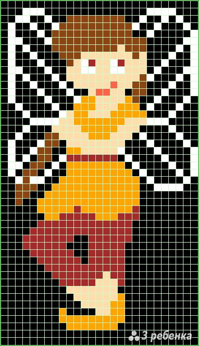 Схема фенечки прямым плетением 21387