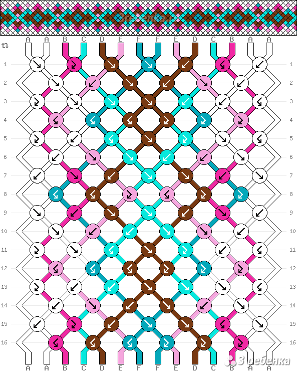 Схемы косого плетения фенечек - Галерея Фенькоплёта