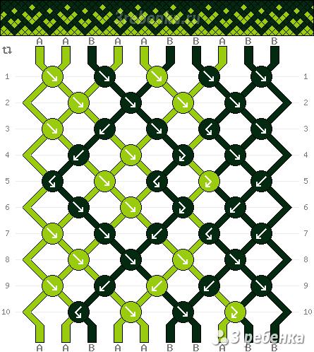 Генератор схем фенечки онлайн косым плетением