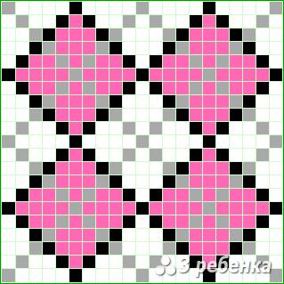 Схема фенечки прямым плетением 22583