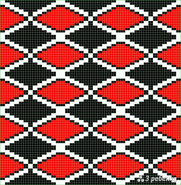 Схема фенечки прямым плетением 23406