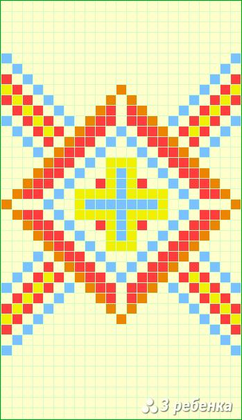 Схема фенечки прямым плетением 23447