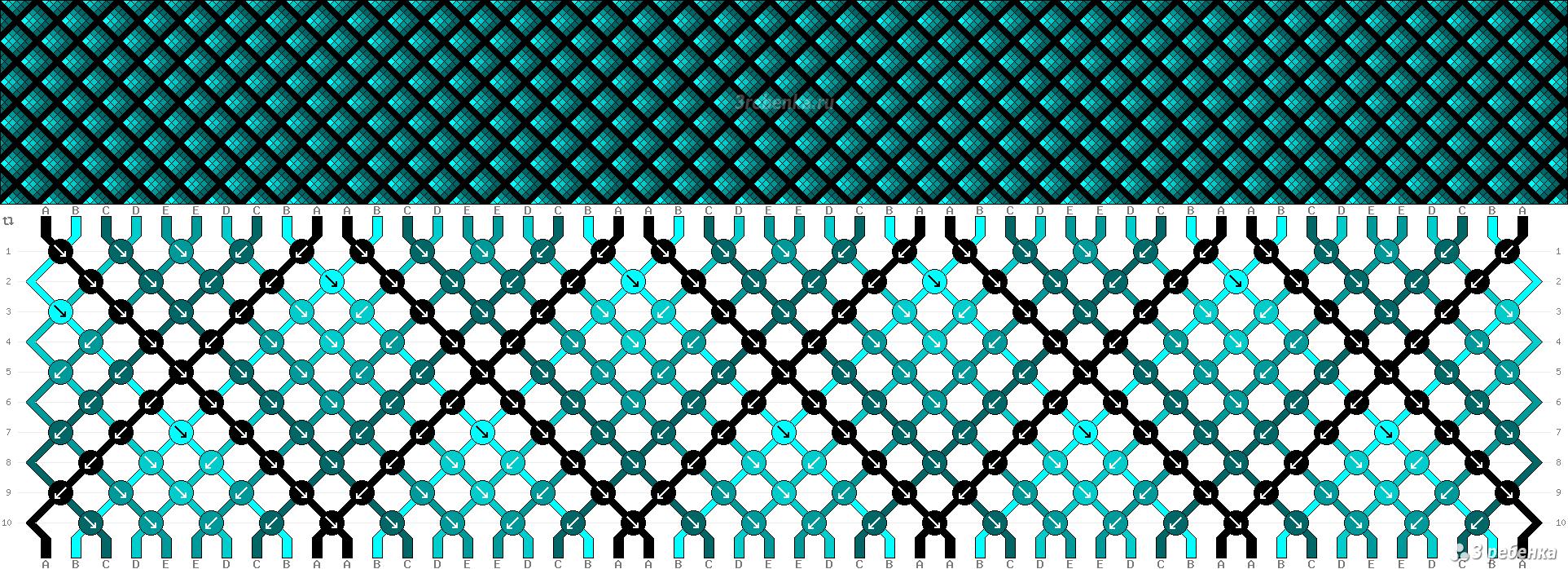 Схема плетения фенечки чешуйки