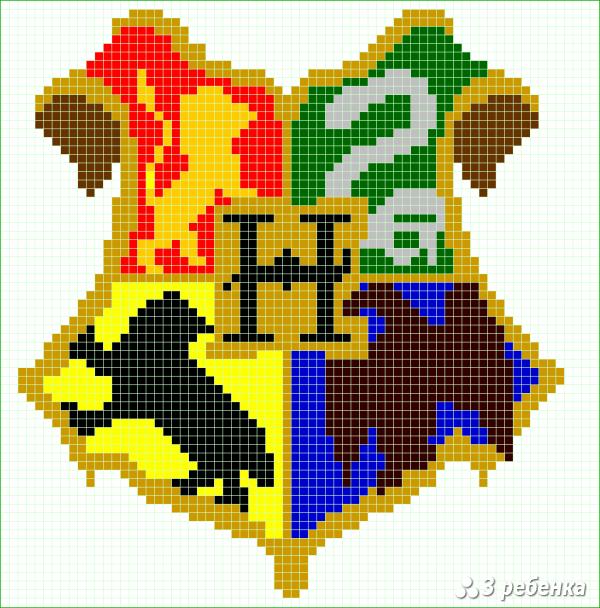 Герб хогвартса схема вышивки