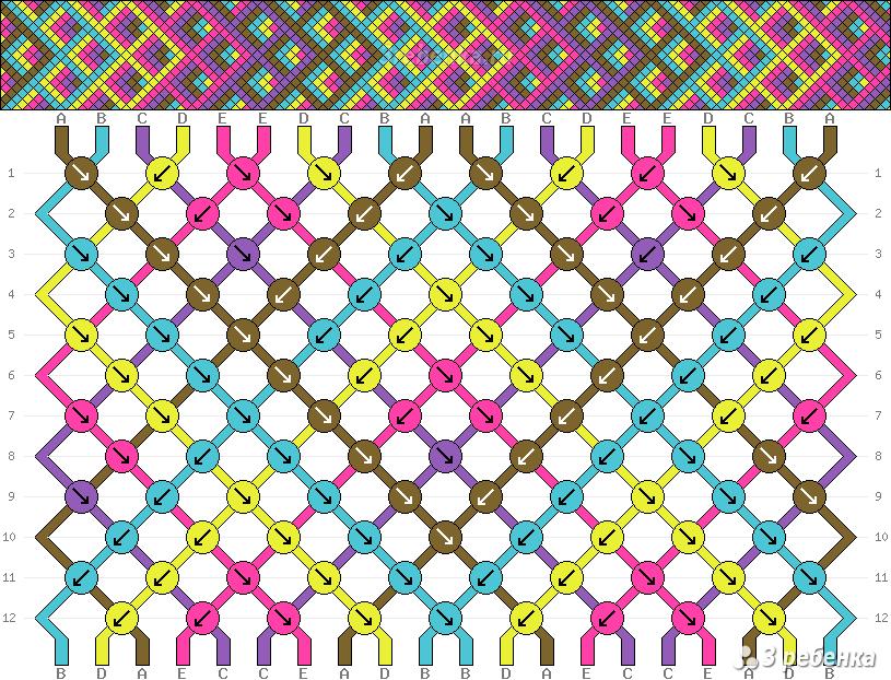 Схема фенечки косого плетения чешуйки