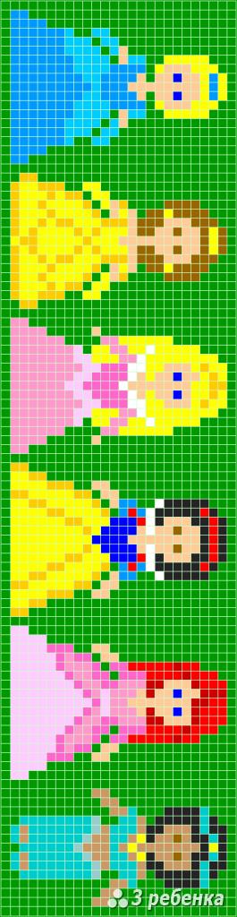 Схема фенечки прямым плетением 28542
