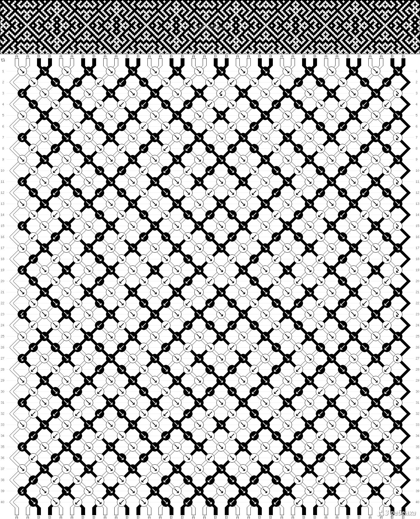 Схема фенечки прямым плетением орнамент