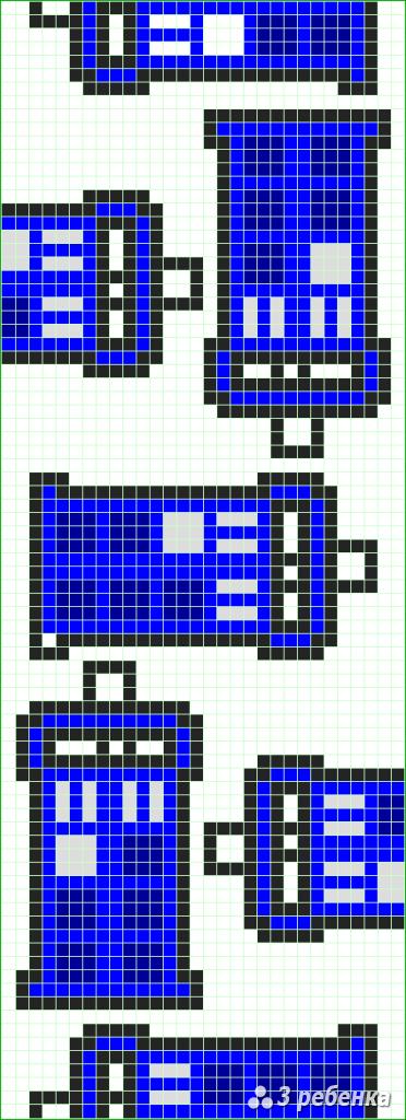 Схема фенечки прямым плетением 31388