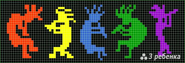 Схема фенечки прямым плетением 31347