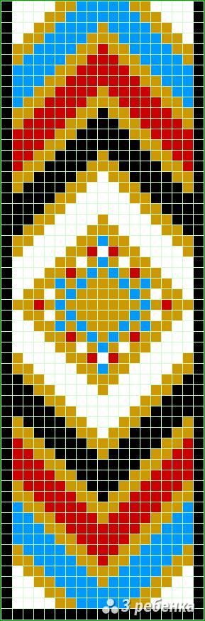 Схема фенечки прямым плетением 32660