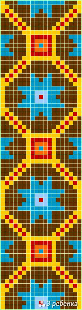 Схема фенечки прямым плетением 32785