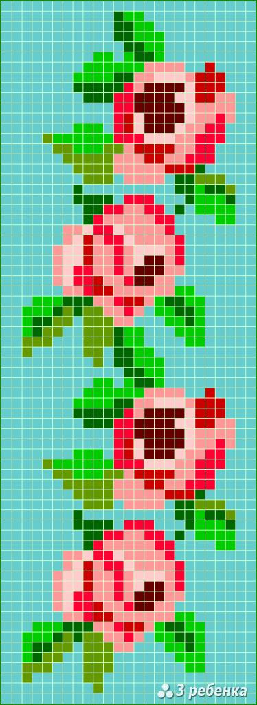 Схема фенечки прямым плетением 32855