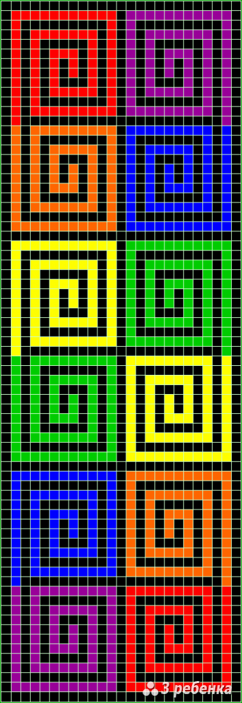 Схема фенечки прямым плетением 32699