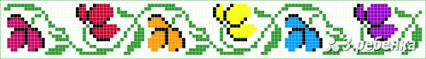 Схема фенечки прямым плетением 32790