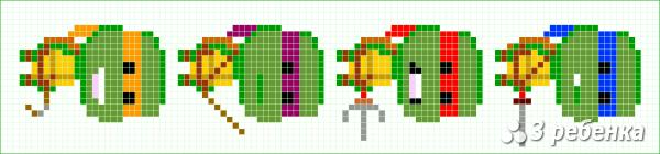 Схема фенечки прямым плетением 32779