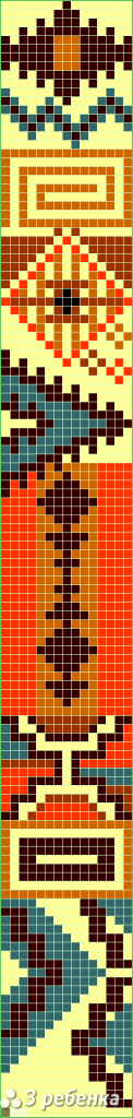 Схема фенечки прямым плетением 32822
