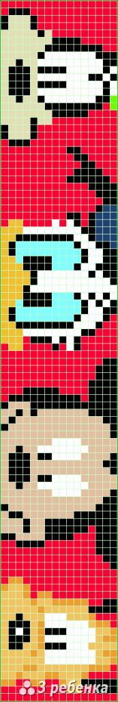 Схема фенечки прямым плетением 32795