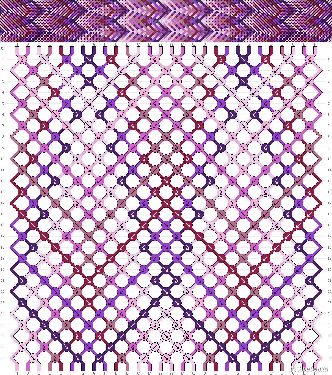 Как плести фенечки по схеме косым плетением