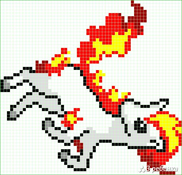 Схема фенечки прямым плетением 32976