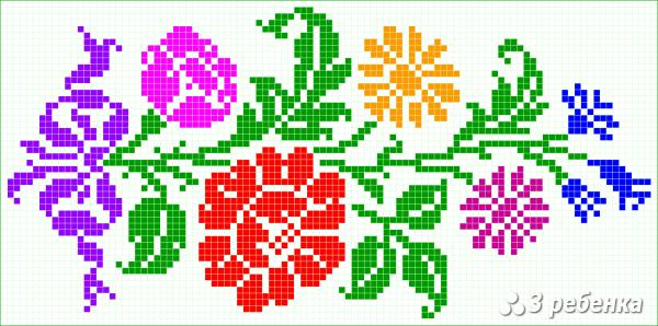 Схема фенечки прямым плетением 32987