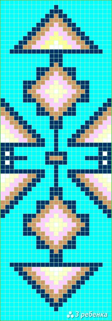 Схема фенечки прямым плетением 32982
