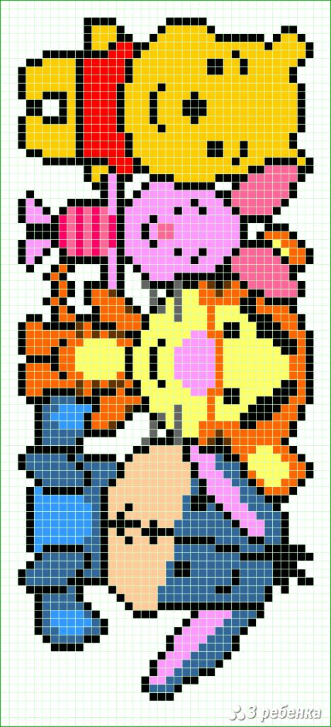 Схема фенечки прямым плетением 33034