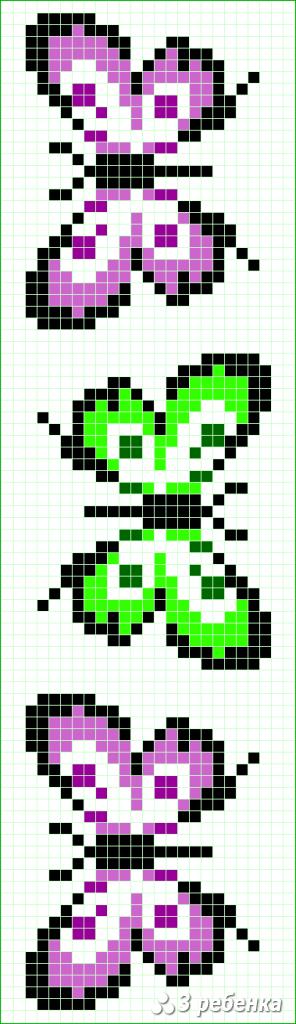 Схема фенечки прямым плетением 32971