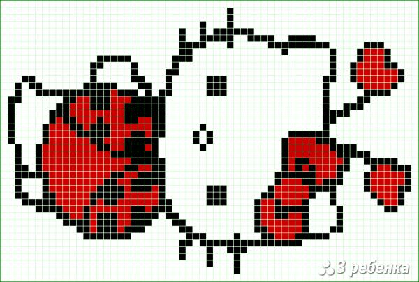 Схема фенечки прямым плетением 34118