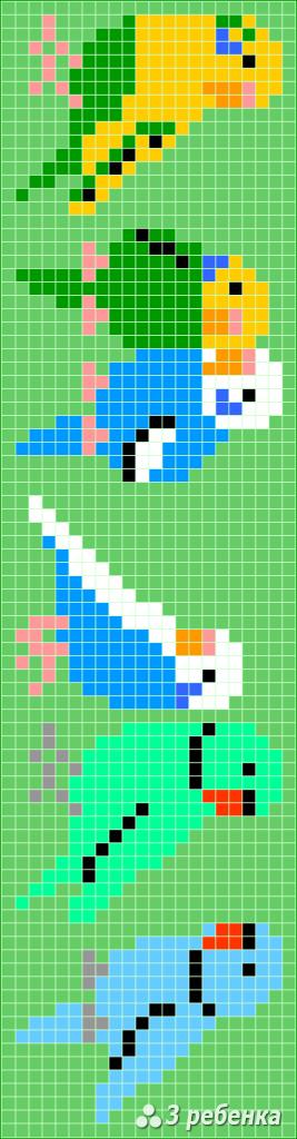Схема фенечки прямым плетением 34061