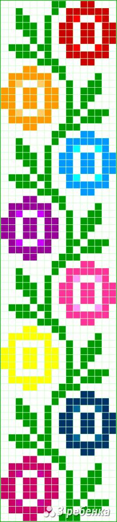 Схема фенечки прямым плетением 34009
